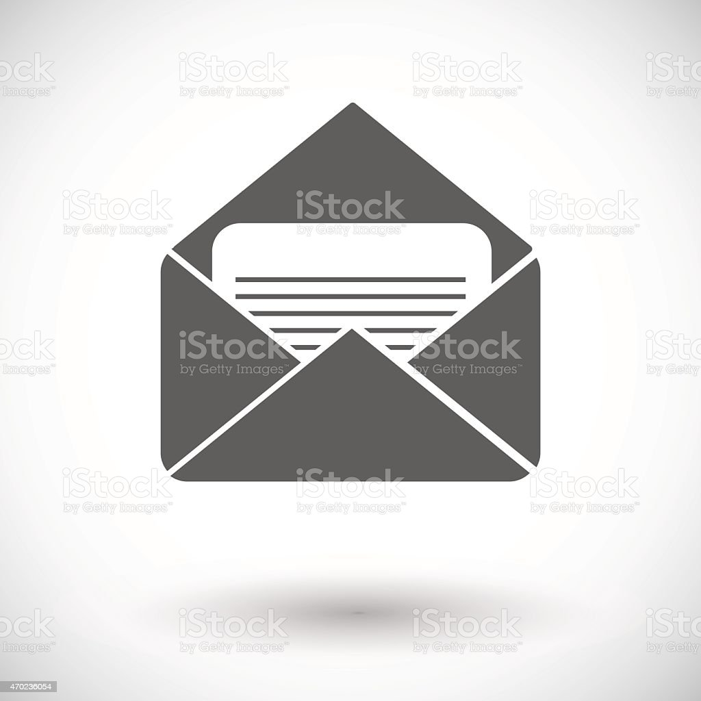 A gray flat icon of an envelope vector art illustration