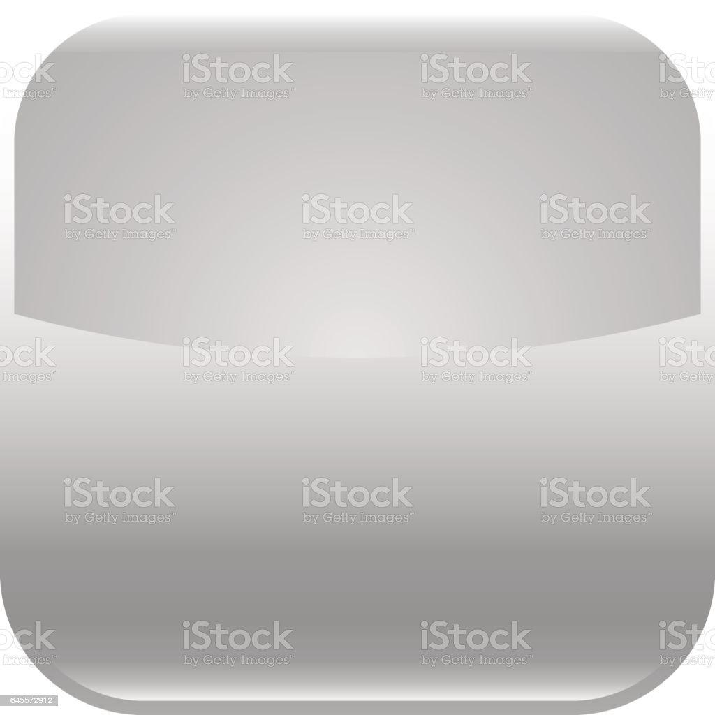 Gray glossy button blank icon square empty shape vector art illustration