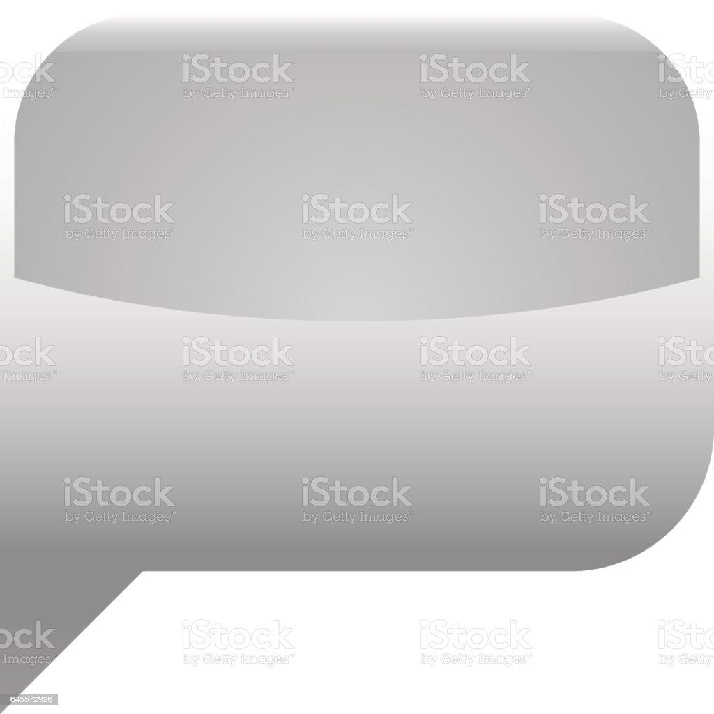 Gray glossy speech bubble blank location icon vector art illustration