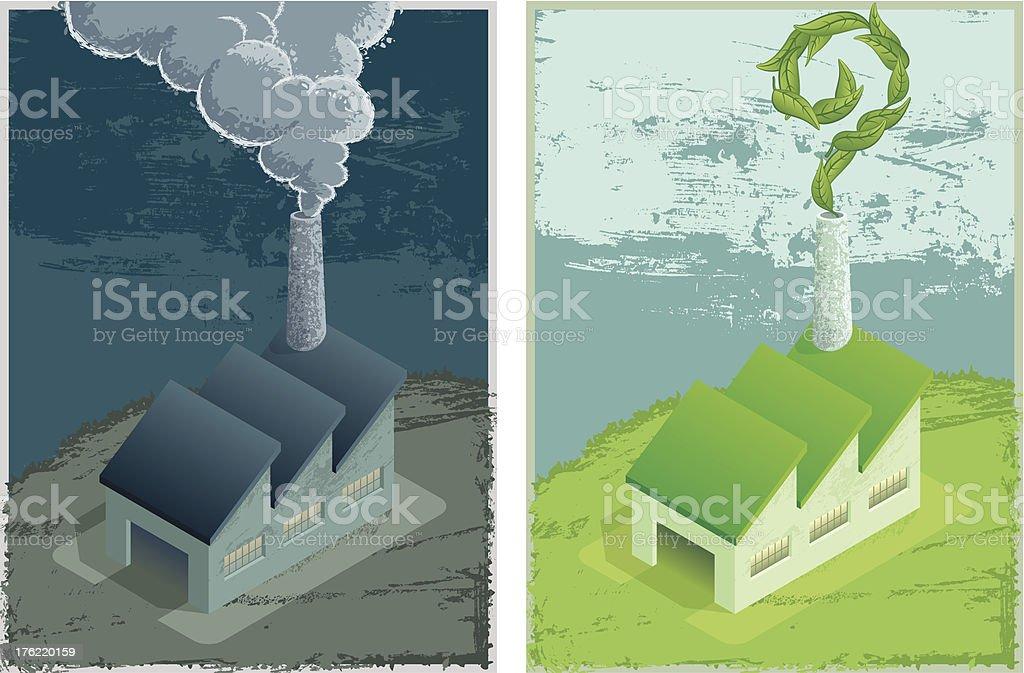 Gray / Green factory royalty-free stock vector art