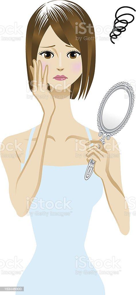 Gray hair vector art illustration