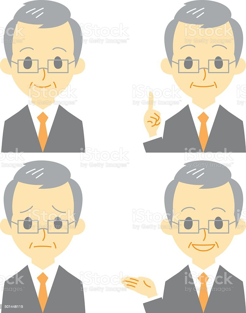 gray haired man in suit, expressions vector art illustration