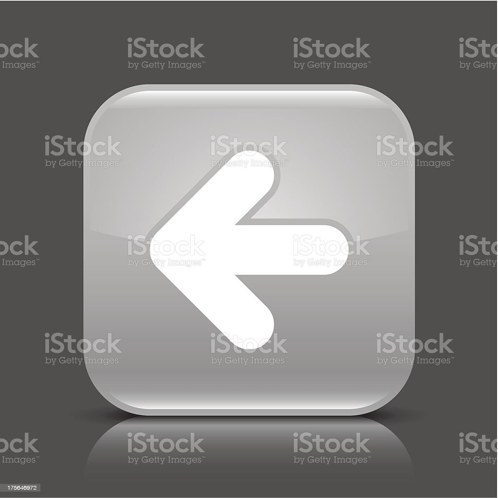 Gray icon arrow left sign glossy square button royalty-free stock vector art