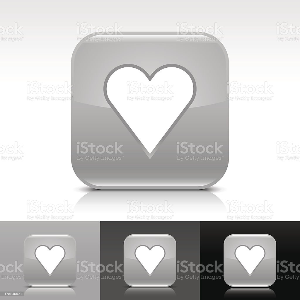 Gray icon heart sign glossy rounded square internet button royalty-free stock vector art