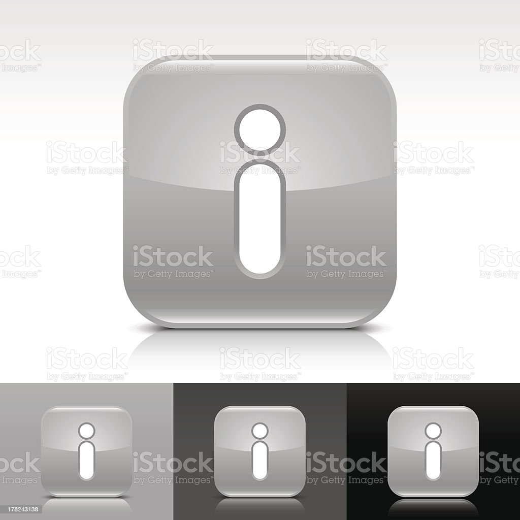 Gray icon information sign glossy rounded square internet button vector art illustration