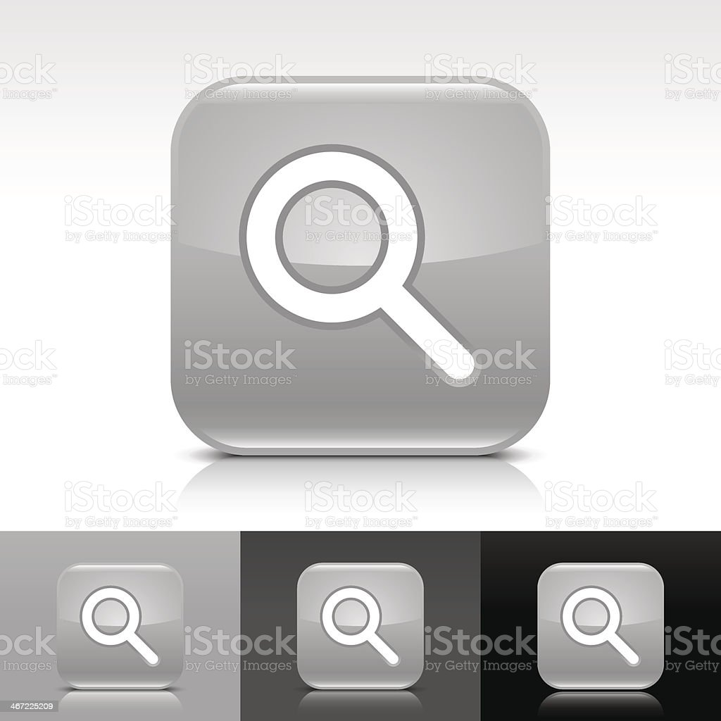 Gray icon magnifying glass sign glossy rounded square internet button royalty-free stock vector art