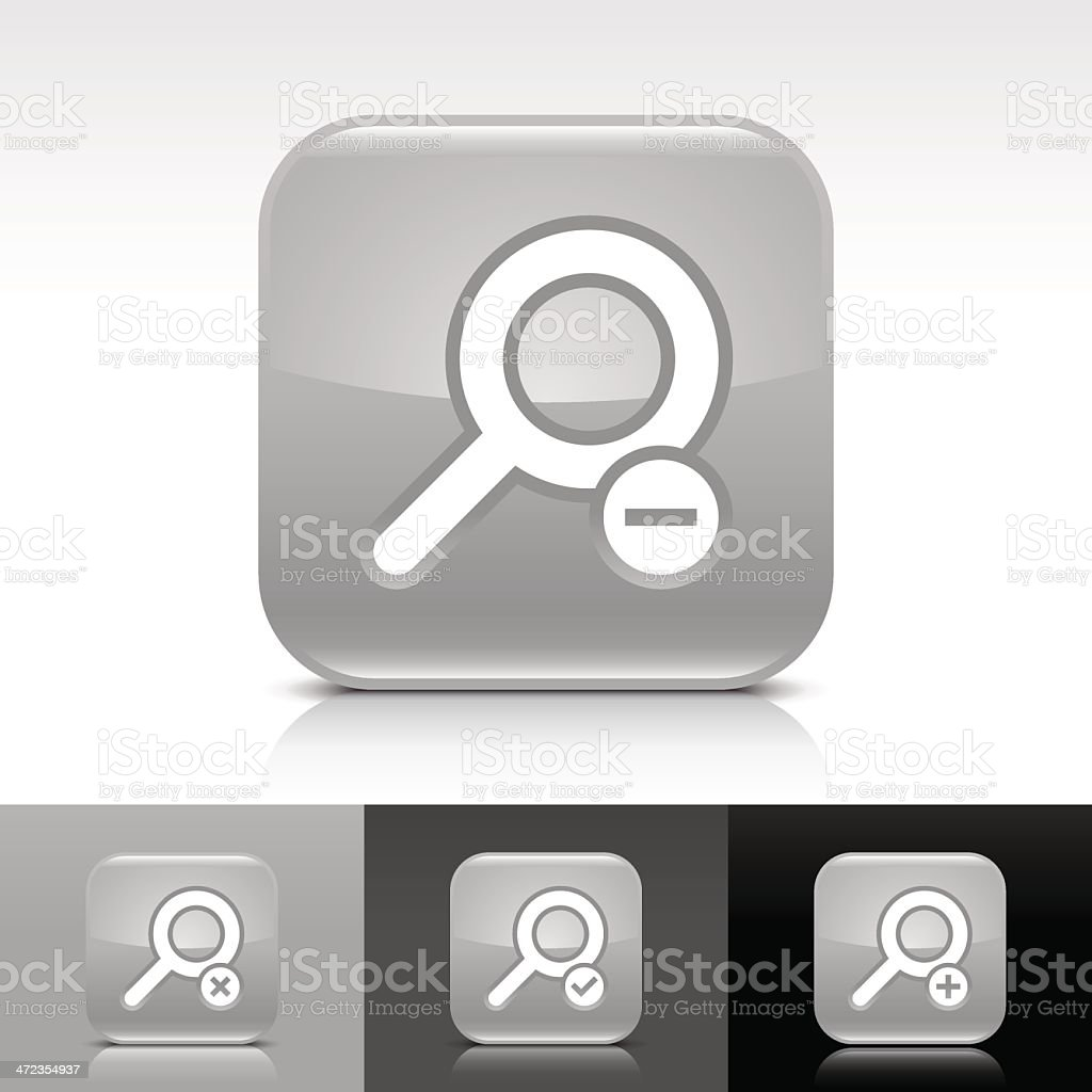 Gray icon magnifying glass sign glossy rounded square web button royalty-free stock vector art