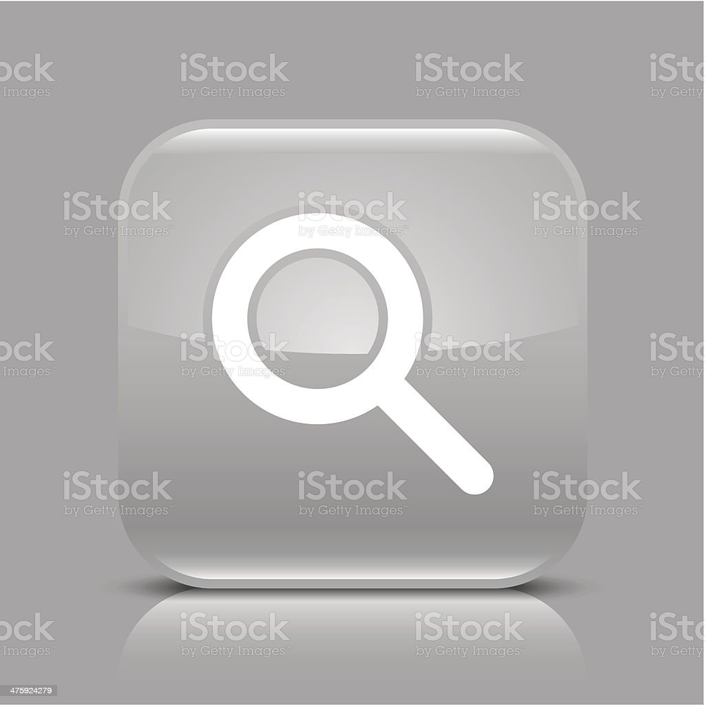 Gray icon magnifying glass sign glossy square web internet button royalty-free stock vector art