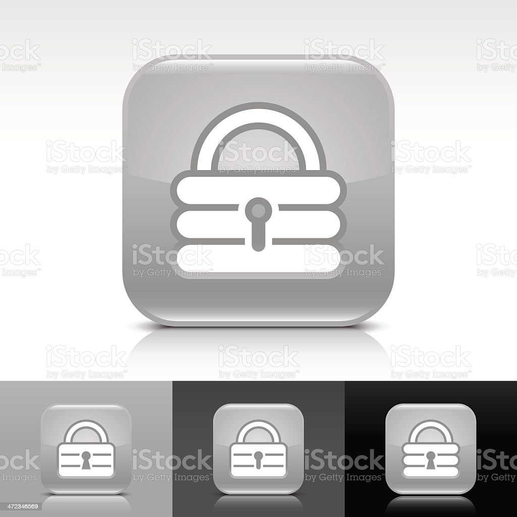 Gray icon padlock sign glossy rounded square web button royalty-free stock vector art
