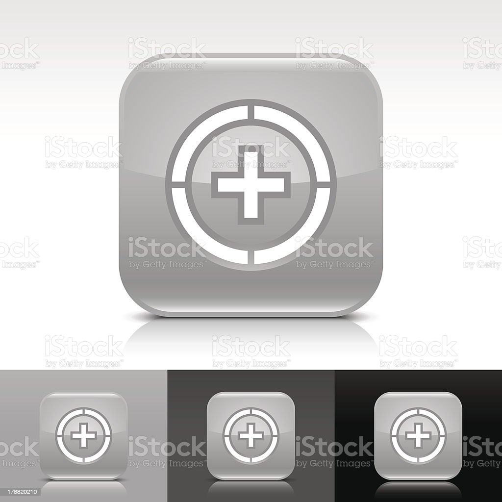 Gray icon plus in circle sign glossy rounded square button royalty-free stock vector art