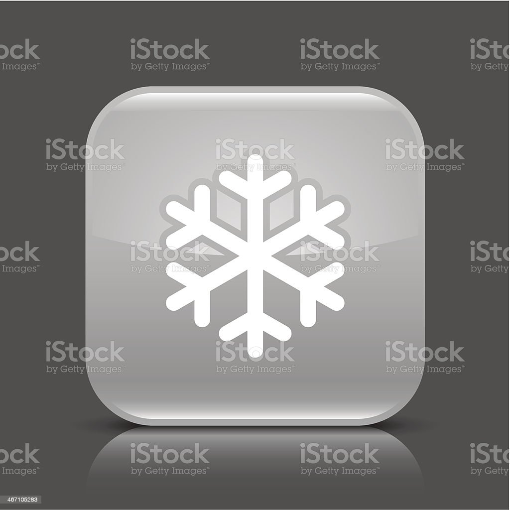 Gray icon snowflake sign glossy square web internet button royalty-free stock vector art