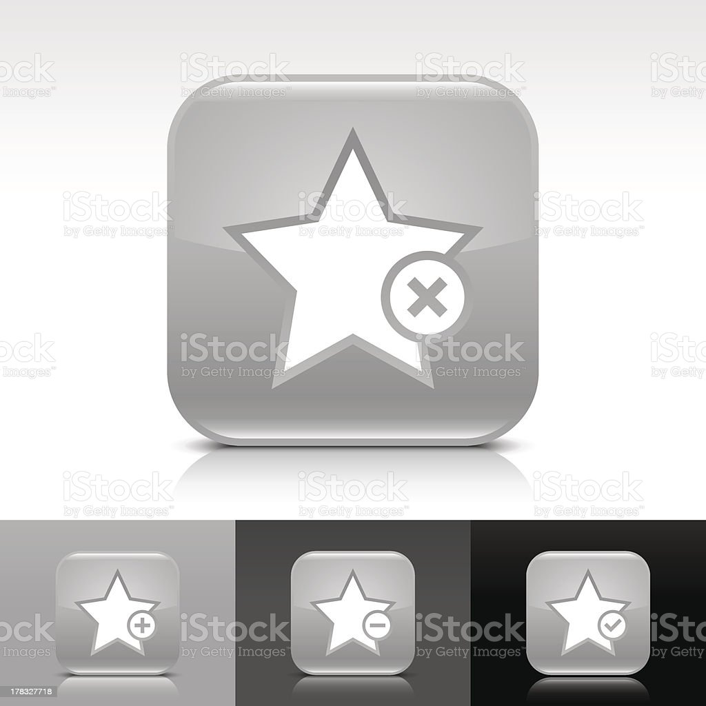 Gray icon star sign glossy rounded square web button royalty-free stock vector art