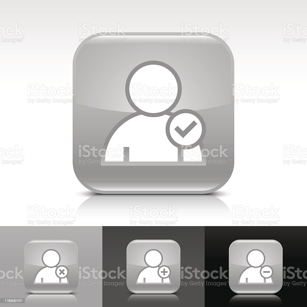 Gray icon user sign glossy rounded square web button royalty-free stock vector art