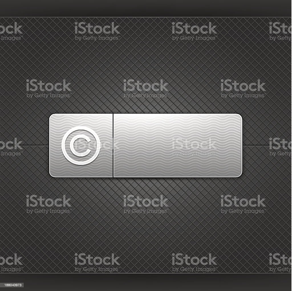 Gray icon with white copyright pictogram web internet button vector art illustration