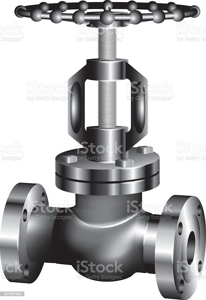gray industrial valve - vector vector art illustration