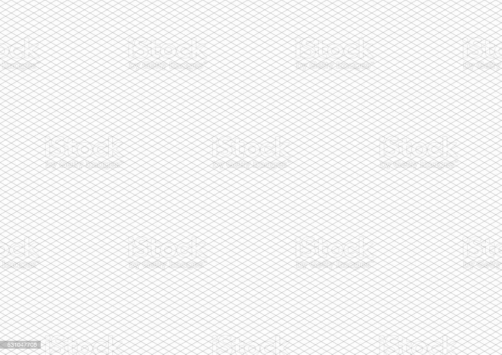 Gray isometric grid on white, a4 horizontal background vector art illustration