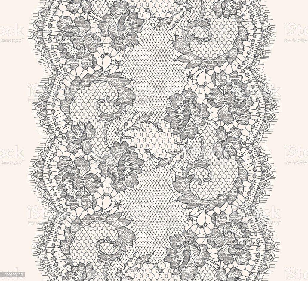 Gray Lace ribbon Vertical seamless pattern vector art illustration