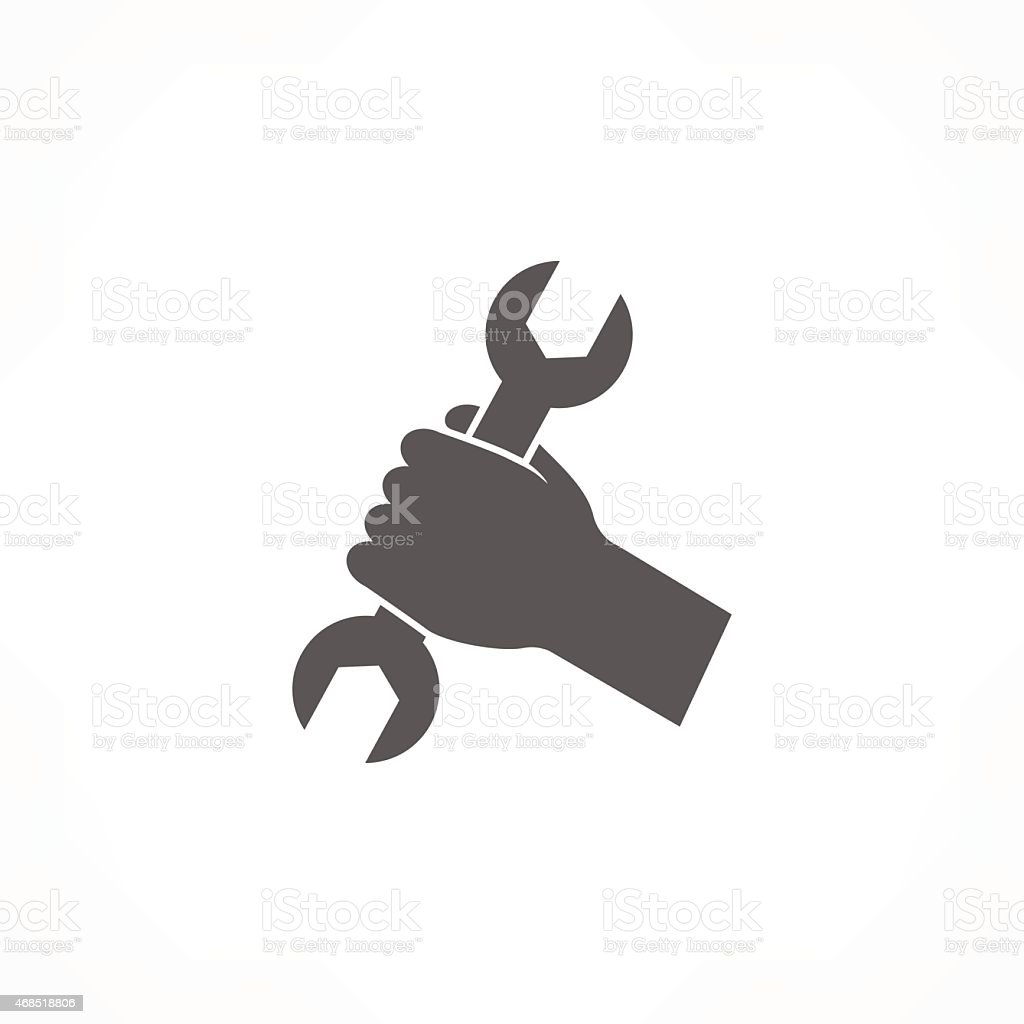 Gray left hand holding a wrench icon on a white background vector art illustration