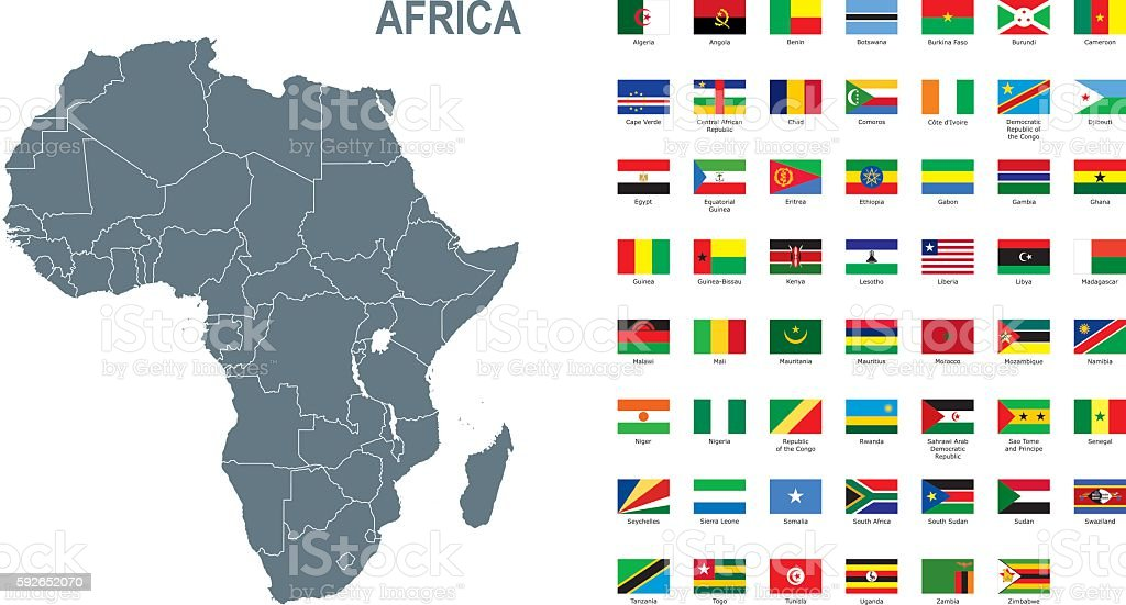 Gray map of Africa with flag against white background vector art illustration