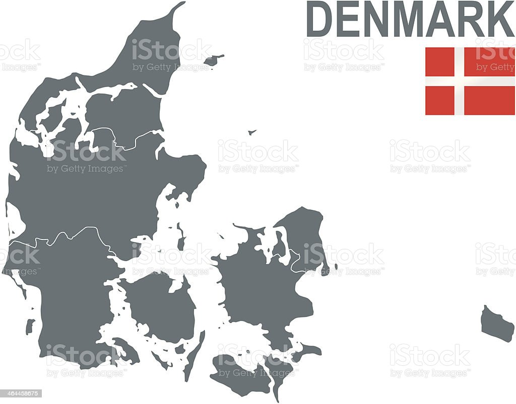 Gray map of Denmark showing the countries five regions vector art illustration