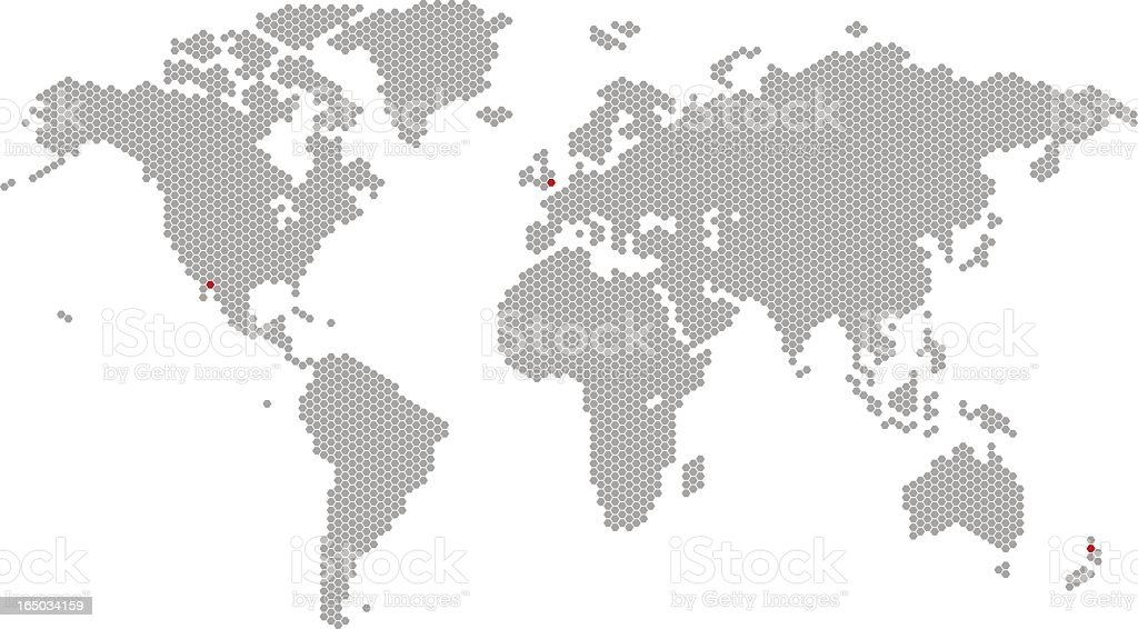 A gray map of the world on a white background vector art illustration