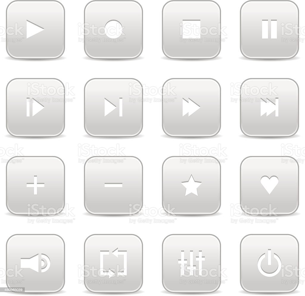 Gray media player audio video icon rounded square button royalty-free stock vector art
