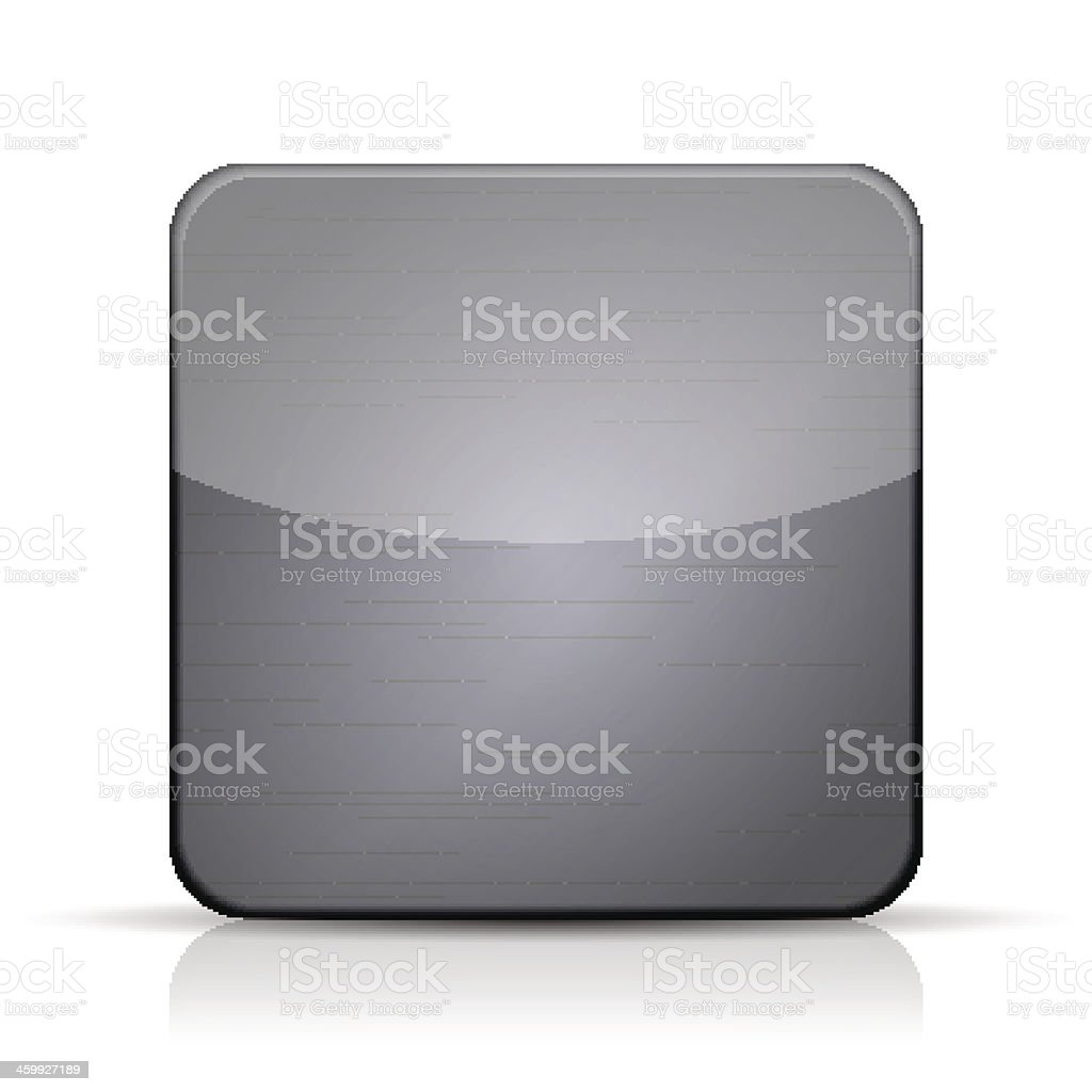 A gray, metal square app icon on a white background vector art illustration