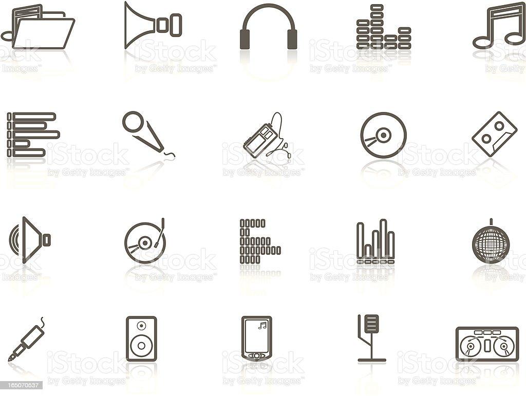 Gray Music Icon Set royalty-free stock vector art