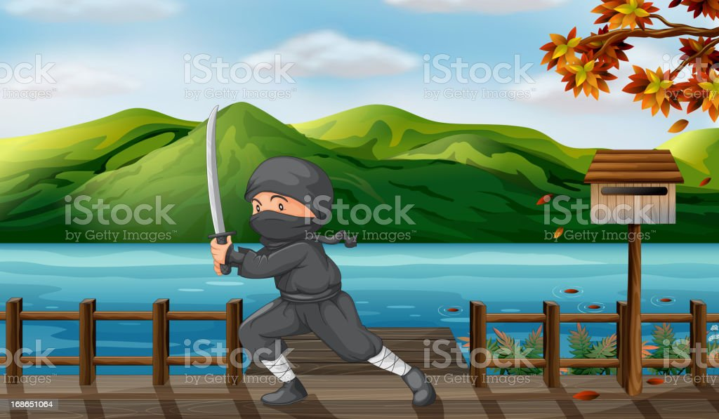 Gray ninja with a sword near the wooden mailbox royalty-free stock vector art