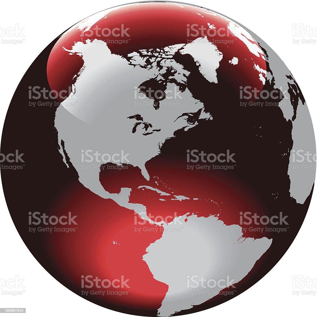 Gray north and south American continents on a red globe royalty-free stock vector art