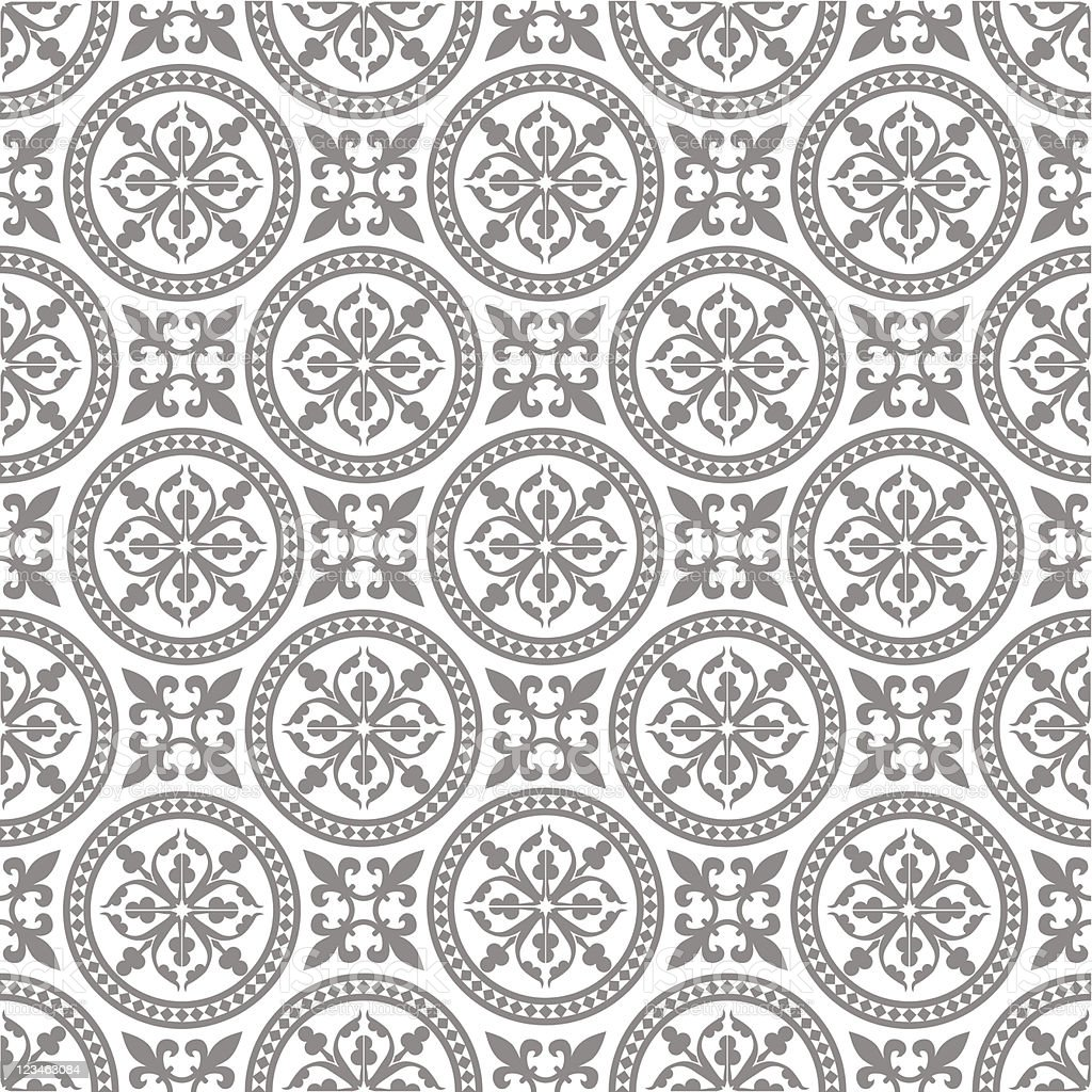 Gray pattern of circles and floral shapes on white royalty-free stock vector art