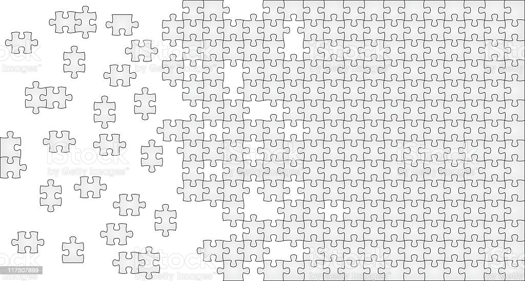 Gray puzzle with missing pieces on one side royalty-free stock vector art
