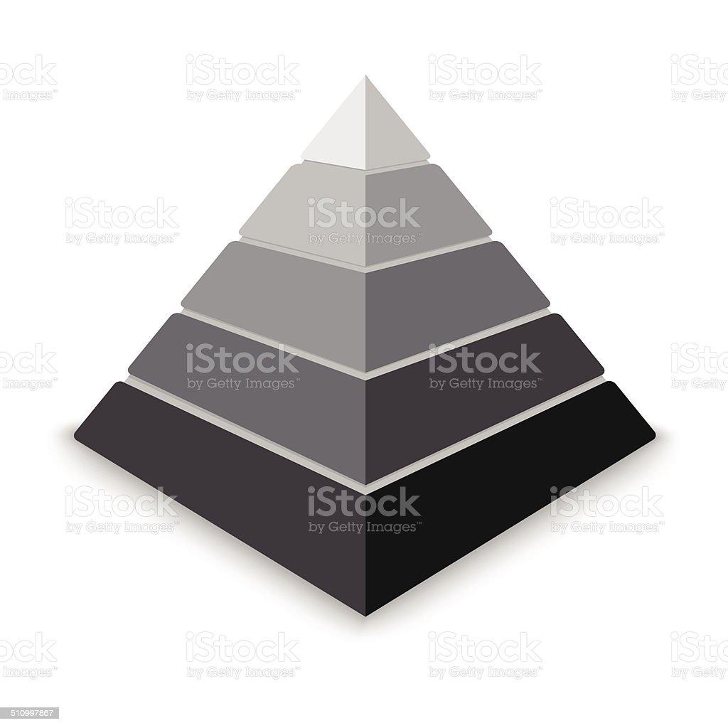 Gray pyramid vector art illustration