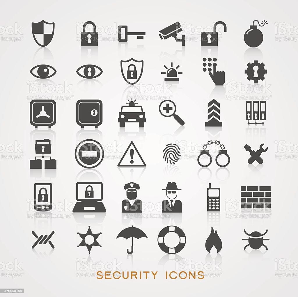 Gray security icons on white background vector art illustration