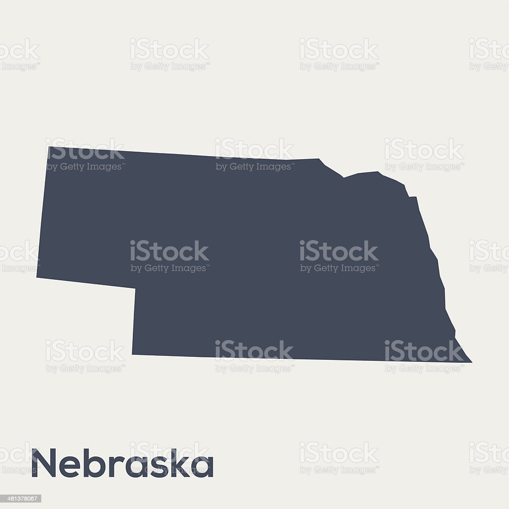 Gray silhouette map of USA state Nebraska royalty-free stock vector art