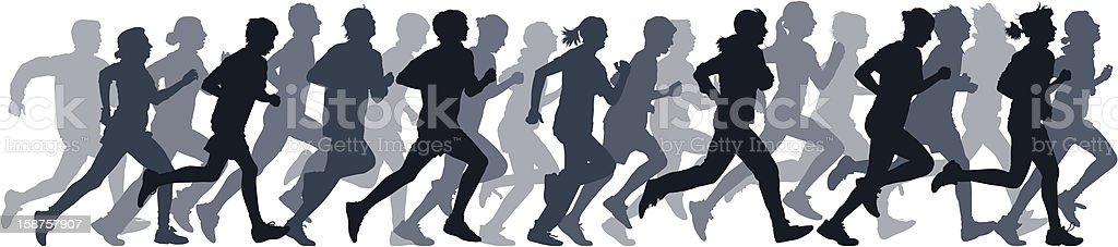 Gray silhouettes of people running vector art illustration