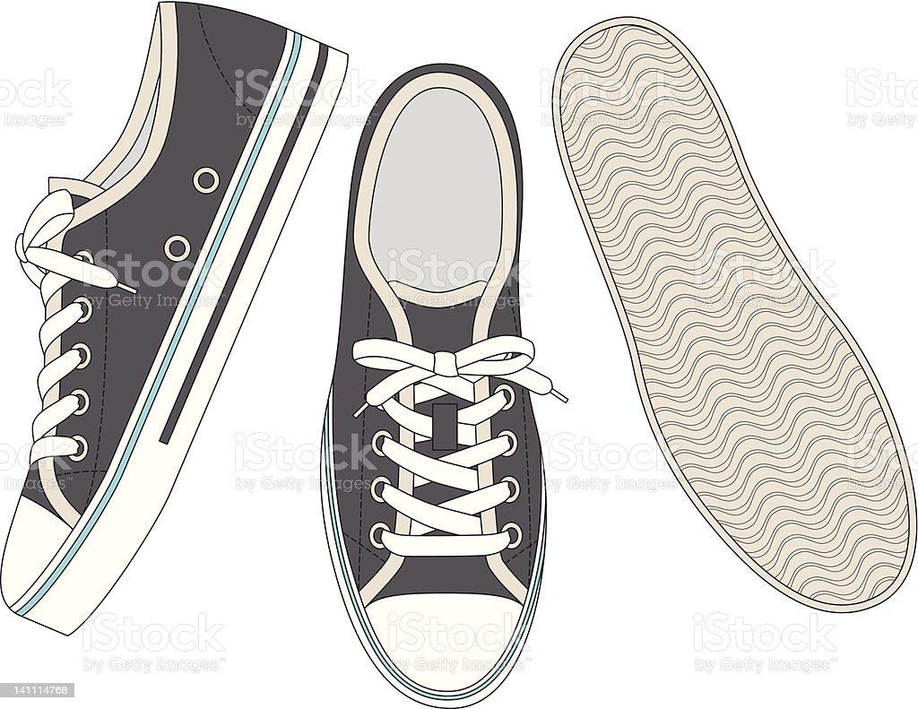 Gray sneakers vector art illustration