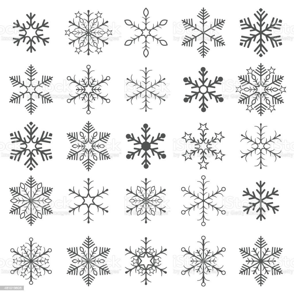 Gray Snowflakes White Background vector art illustration
