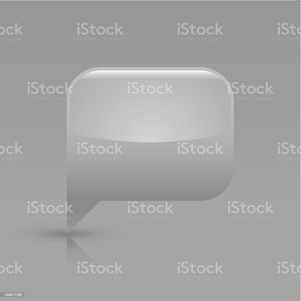 Gray speech bubble sign glossy icon empty rectangle pictogram royalty-free stock vector art