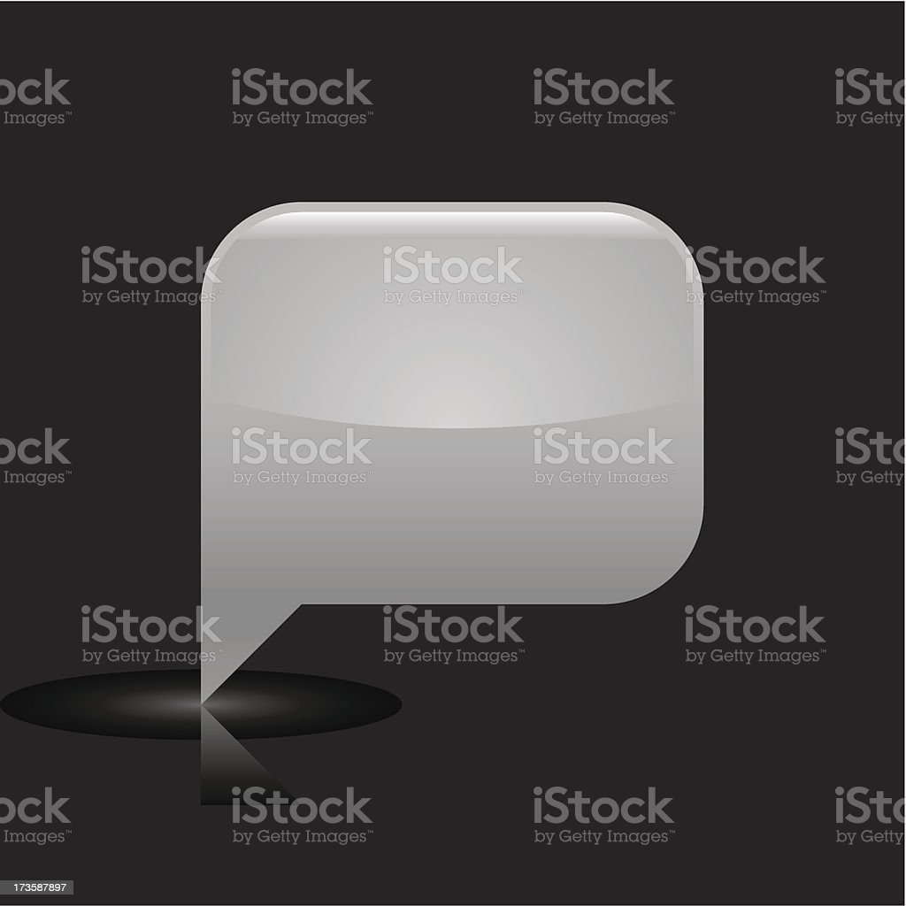 Gray speech bubble sign glossy icon rectangle pictogram web button royalty-free stock vector art