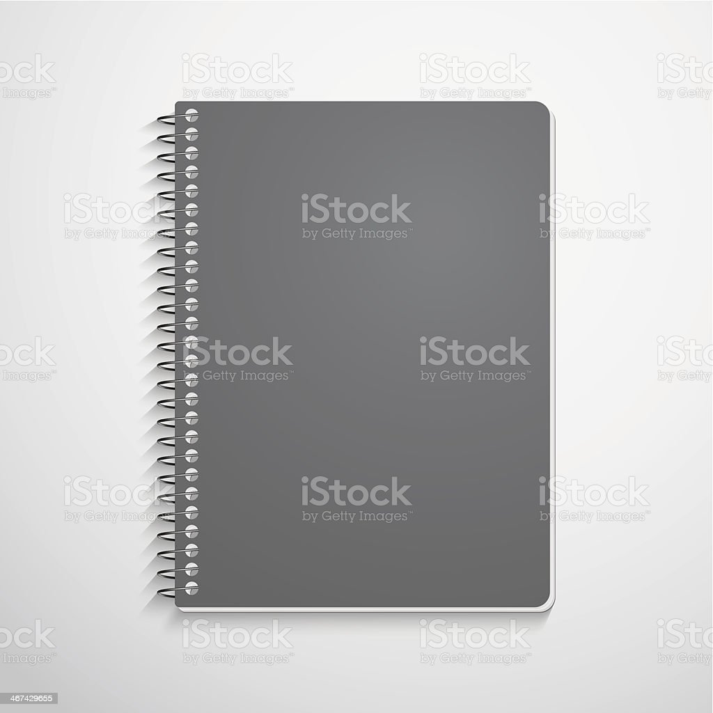 A gray spiral notebook isolated on white vector art illustration