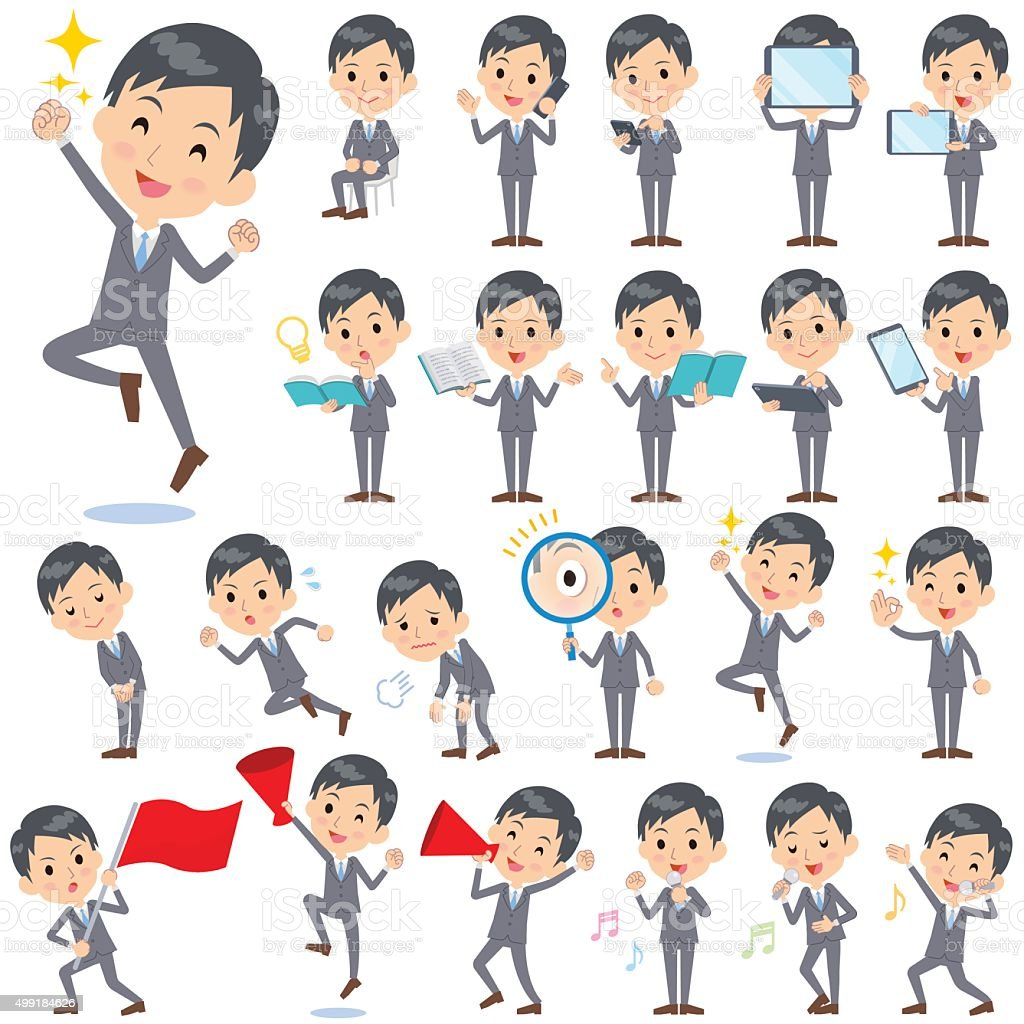 Gray Suit Businessman 2 vector art illustration