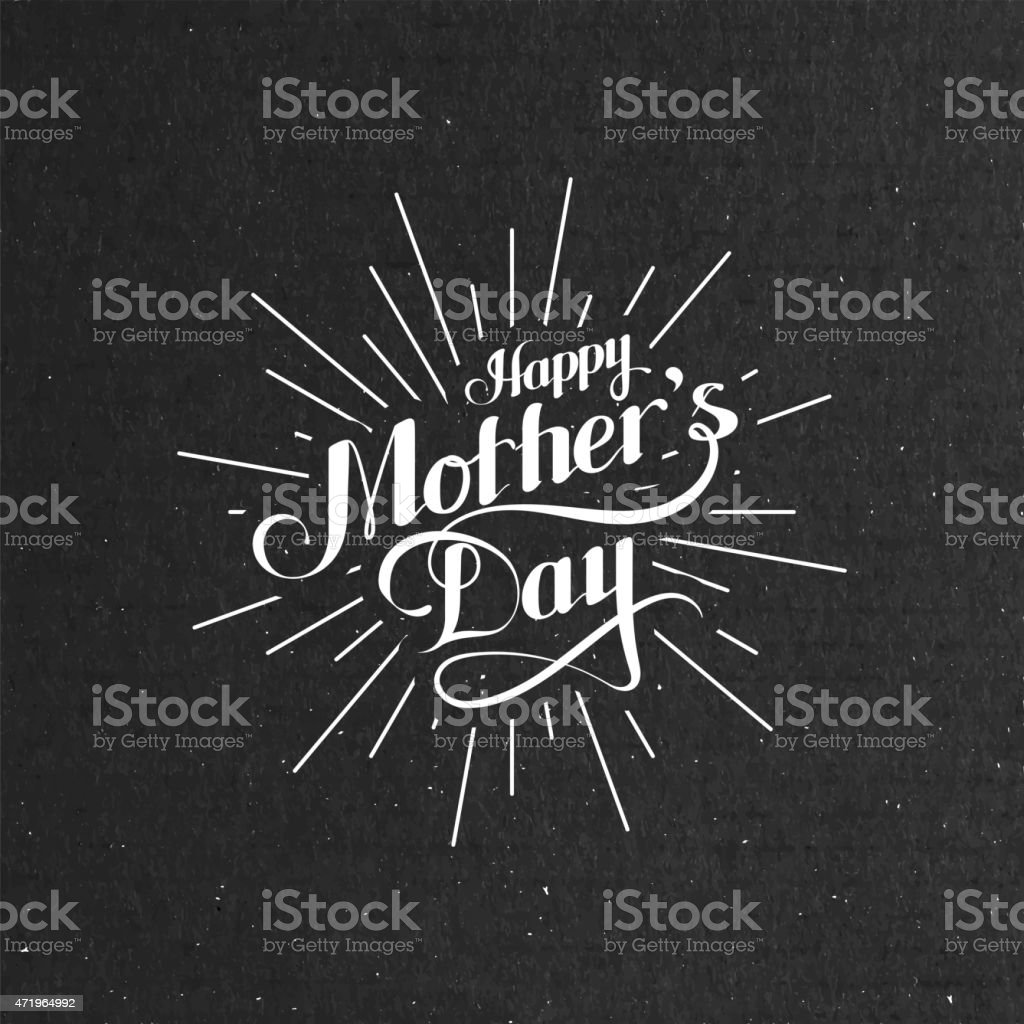 Gray textured background with Happy Mother's Day in white  vector art illustration