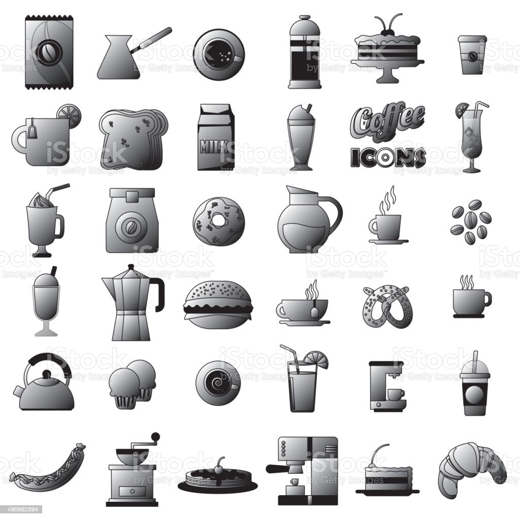 gray tone coffee shop icons. In vector style vector art illustration