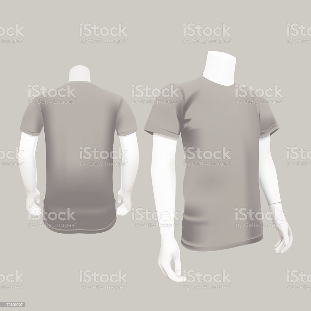 Gray T-Shirt Template - Vector Illustration royalty-free stock vector art