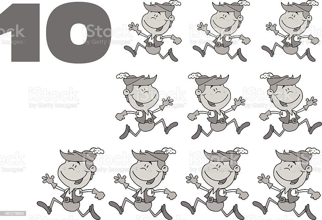 Gray Twelve Days of Christmas - 10 royalty-free stock vector art