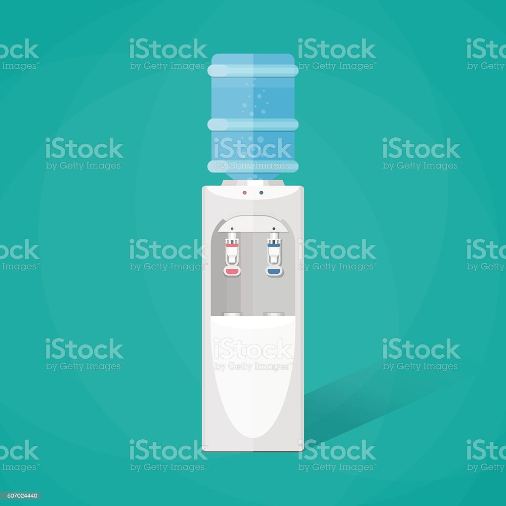 Gray water cooler with blue full bottle vector art illustration