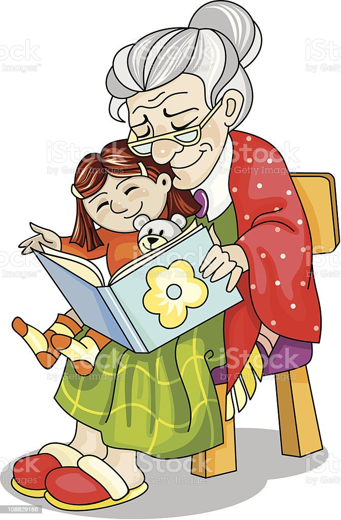 Gray-headed woman is reading a book to her grandchild royalty-free stock vector art