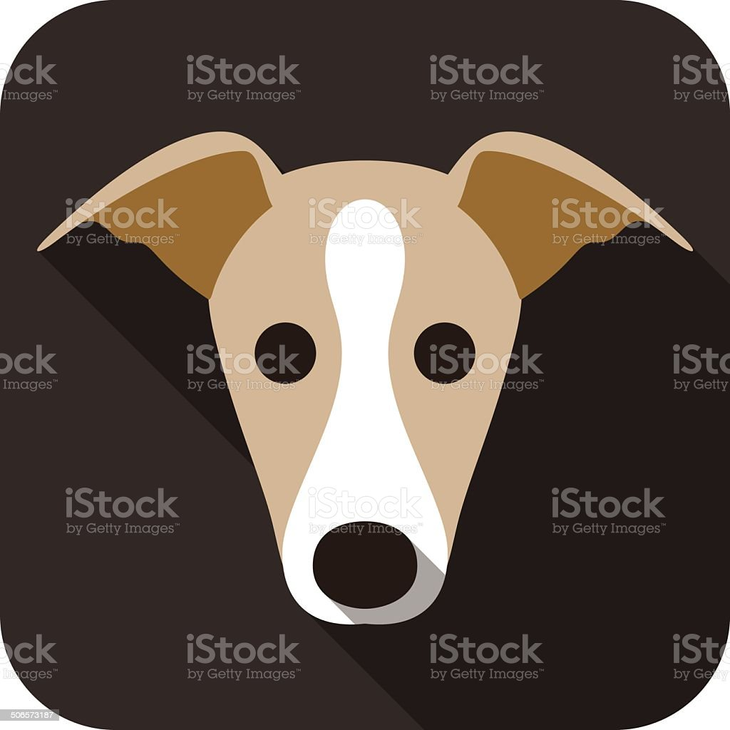 grayhound dog face flat icon vector art illustration