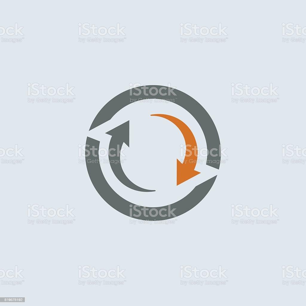 Gray-orange Cycle Round Icon vector art illustration